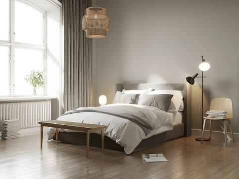 3d rendering of a grey Scandinavian bedroom with wooden stool, floor lamp, rattan ceiling lamp and many books