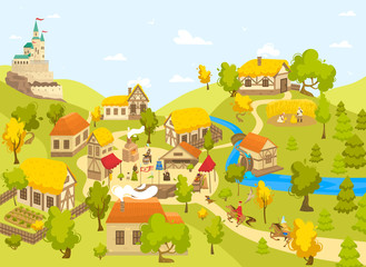 Medieval village with castle, half timbered houses and people on market square, vector illustration. Blacksmith artisan, Medieval peasant and horseman cartoon character in Middle Ages town countryside Fototapete