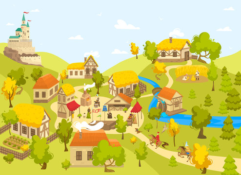 Medieval village with castle, half timbered houses and people on market square, vector illustration. Blacksmith artisan, Medieval peasant and horseman cartoon character in Middle Ages town countryside