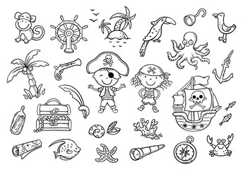 Wall Mural - A set of pirate cliparts suitable for stickers