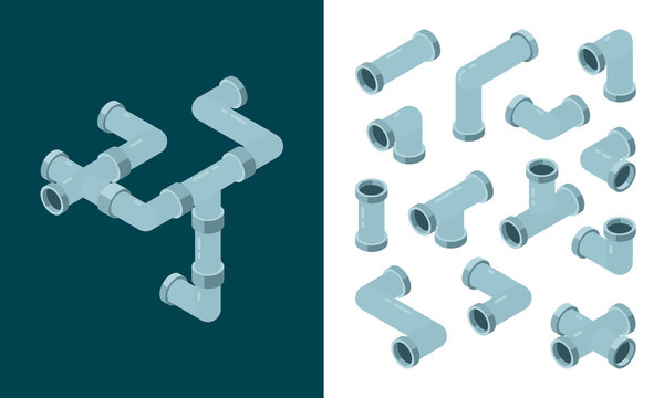 Industrial pipes. Oil or water plastic tubes steel pipes connections vector isometric set. Pipe plumbing, pipeline industry gas, industrial piping illustration