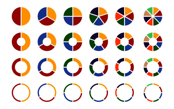 Pie chart icon set. Flat colorful circle diagrams with 2,3,4,5,6,8 sections. Round charts for UI infographic web design presentation. Vector illustration