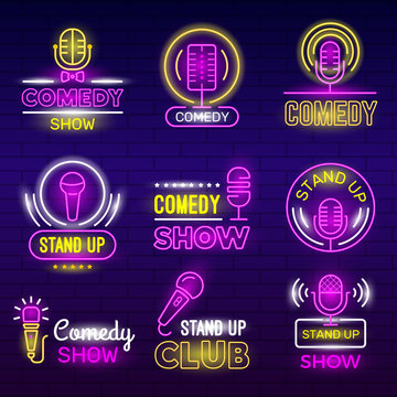 Standup show. Retro microphone comedy club neon logotypes comedian identity vector set collection. Illustration standup comedy, humor stand up