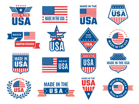 Made in usa logo. Label for patriot american flag and special symbols for vector usa stamps design. Label usa flag, patriotism made in america illustration