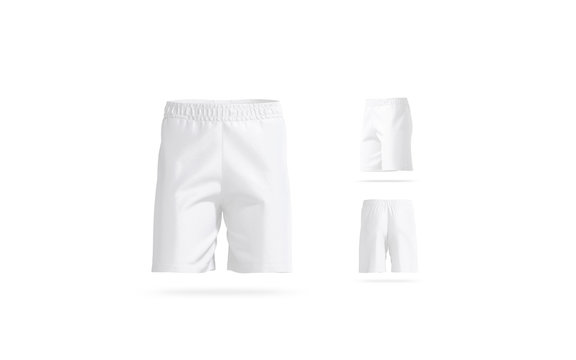 Blank white soccer shorts mock up, different views