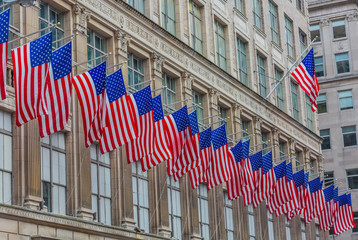 Fototapete - American Flags Manhattan Landmarks New York City USA