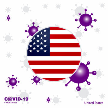 Pray For United States of America. COVID-19 Coronavirus Typography Flag. Stay home, Stay Healthy