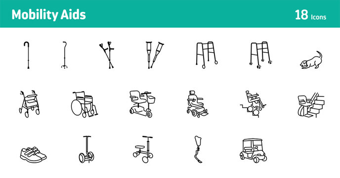 Mobility Aids Vector Icons - set of 18