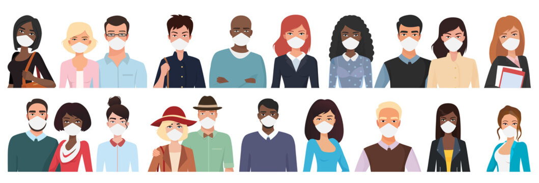 Multiracial different age people in masks cartoon flat vector illustration set. Young, middle, over aged men, women with masks, visible upper body part and faces, in two rows, looks straight to viewer