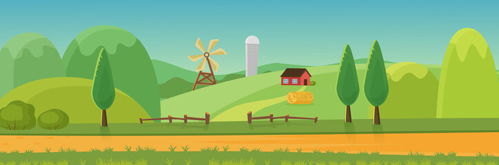 Cute rural landscape panorama with farm cartoon flat vector illustratio. Panoramic view of green fields, hills, trees, haystack, dirt road, wood hedge in front, windmill, house, grain elevator Wall mural