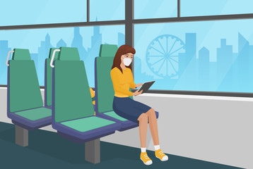 Pretty girl in medical face mask goes by bus quarantine time cartoon vector illustration. Young self care female in empty public transport salon using tablet. Coronavisrus covid 19 air pollution time.