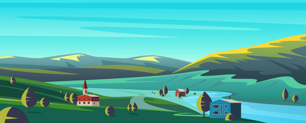 Small town in mountains flat cartoon landscape panorama vector illustration background. Calm picturesque landscape in valley between green hills, apartly standing houses, trees, under aquamarine sky