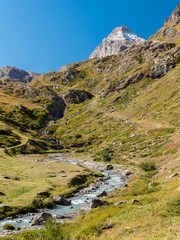 The river Dora di Rhemes flows across the valley of Rhemes; the peak called Granta Parey in the background (Aosta Valley, Italy)