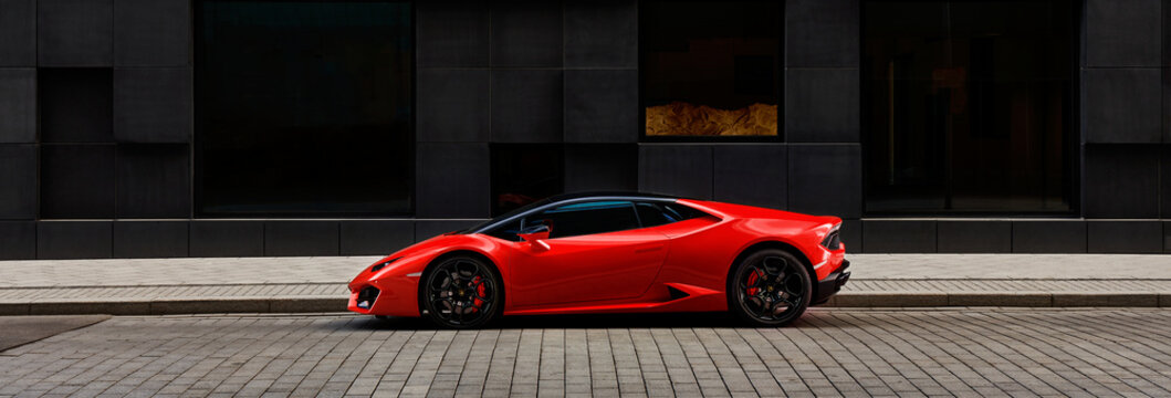 Oslo, Norway, 03.06.2016: Red Lamborghini Huracan in front of office