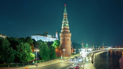 Fotomurales - Moscow Kremlin hyper lapse, Embankment and Moscow River, Russia