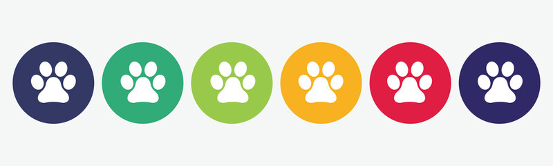 Set of 6 circles with paw print icon. Vector illustration. Fotomurales