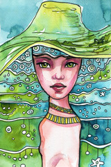 Fotobehang Schilderkunstige Inspiratie A fantasy blue and green portrait of a woman