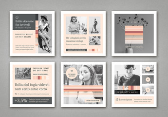 Social Media Post Layouts in Pale Pink and Gray