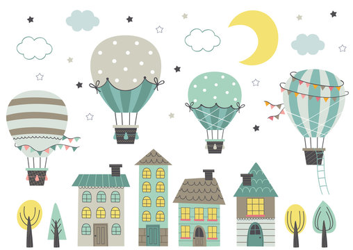 hot air balloons fly over houses at night on white background   - vector illustration, eps