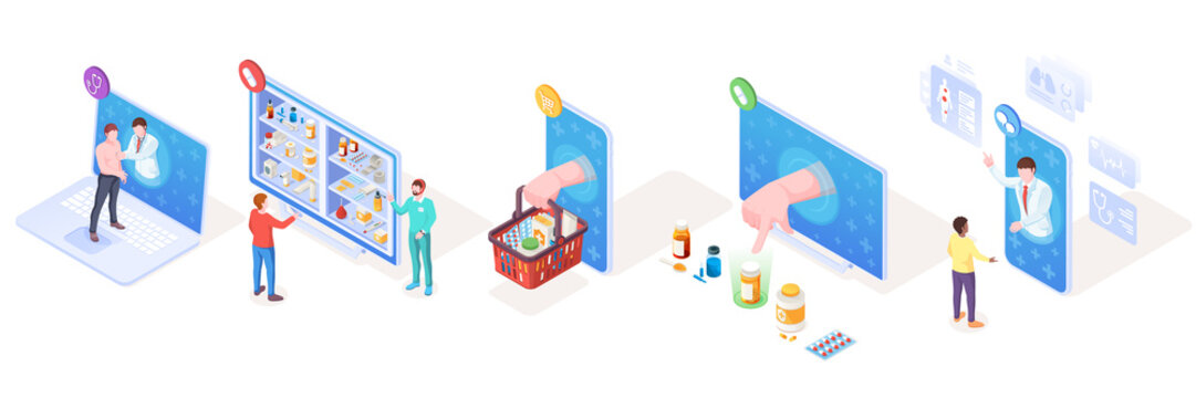 Set of isometric vector signs for online medical support and pharmacy, drugs delivery and doctor consultation or diagnosis. Smartphone use for medicine, prescription.Illustration design for healthcare