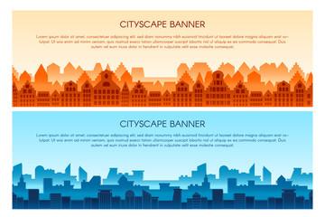 Cityscape flat vector banner templates set Fototapete