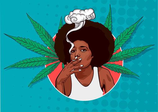 Smoker cannabis cute girl. Cannabis leafs. Vector illustration
