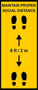 Coronavirus pandemic sign reminding people to keep a minimum distance of six feet or two meters between them. Social distance public health measures to prevent further spread of Covid-19 infections.