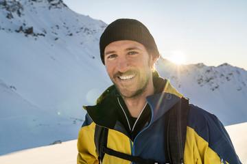 Portrait of man during ski tour, Lenzerheide, Grisons, Switzerland