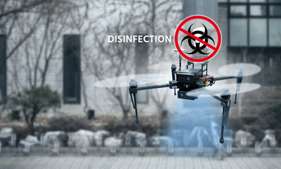 Drone spraying disinfectant on city street during coronavirus pandemic Wall mural