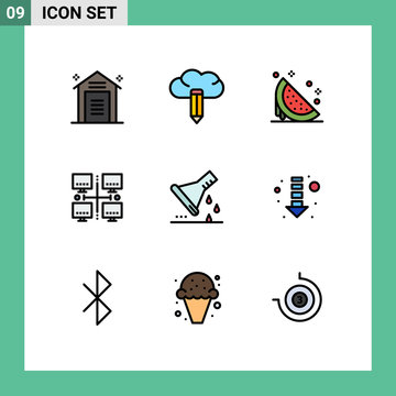 Stock Vector Icon Pack of 9 Line Signs and Symbols for chemical flask, local, dessert, lan, watermelon