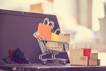 Online shopping / e-commerce and customer experience concept : Shopping cart with boxes, shopping bags on a computer, depicts consumers / buyers buy or purchase goods and service from home