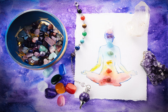 Reiki Healing chakra background, with watercolor painting and healing stones. Yoga, meditation concept.