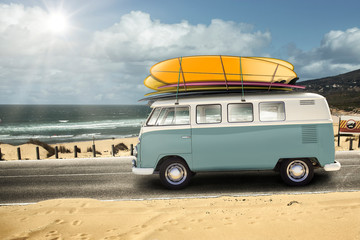 VW with surfboards. Guincho Portugal.