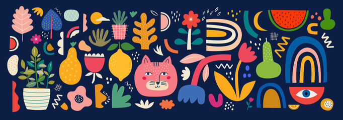 Fototapete - Cute spring pattern collection with cat. Decorative abstract horizontal banner with colorful doodles. Hand-drawn modern illustrations with cats, flowers, abstract elements. Abstract series