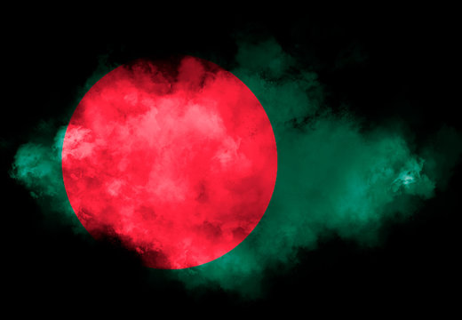 Bangladesh flag performed from color smoke on the black background. Abstract symbol.