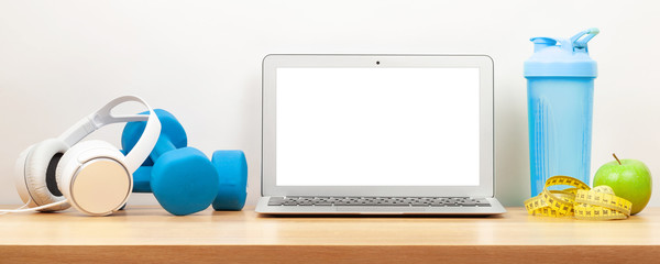 Healthy lifestyle, fitness, sport and online technology Wall mural