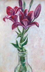 Soft pastel drawing of red lilies