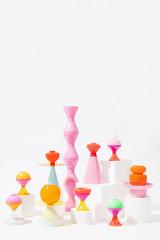 Zelfklevend Fotobehang Historisch mon. Abstract Colorful Lamps/objects set ups