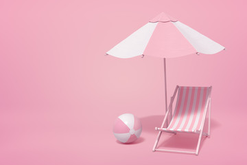 3d rendering of striped white and yogurt pink beach umbrella, beach chair and beach ball on pink background with copy space.