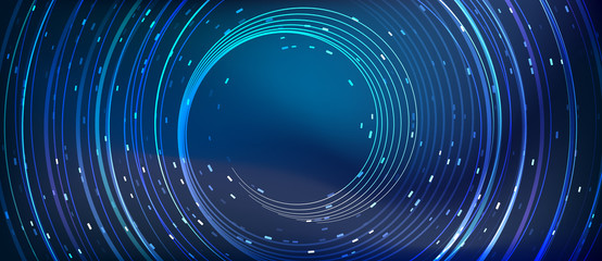 blue vector abstract background with luminous round lines