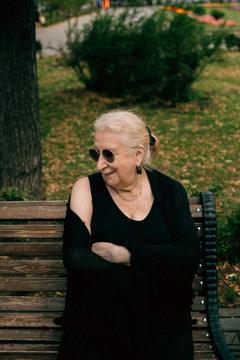 Happy senior woman in the park