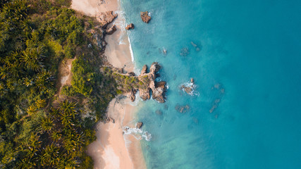drone view of a wild paradise beach in Mexico - Caribbean sea with transparent clean water