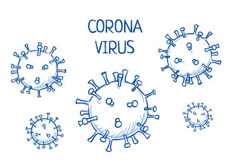 Set of corona virus icons. Hand drawn line art cartoon vector illustration.