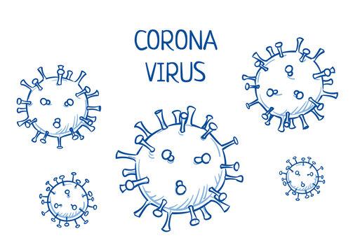Set of corona virus icons. Hand drawn line art cartoon vector illustration.