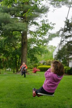 Little kids playing outside