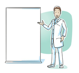 Scientist, doctor or pharmacist presenting something at board or display. Concept for presentation, lecture or lesson. Hand drawn cartoon sketch vector illustration, whiteboard marker style coloring.