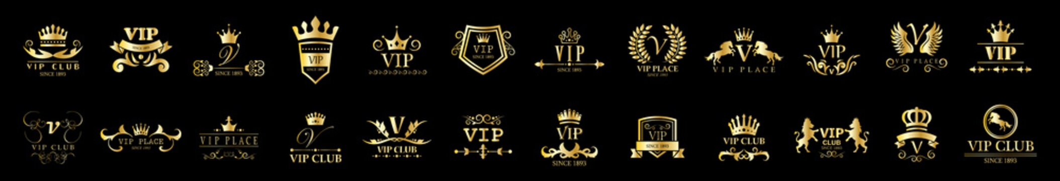 Golden Vip Logo Set - Isolated On Black Background, Vector Illustration. Icons Collection Of Golden Vip Logo, Gold Emblem And Label. Useful For Badge, Seal And Design Template. Luxury Logo Vector