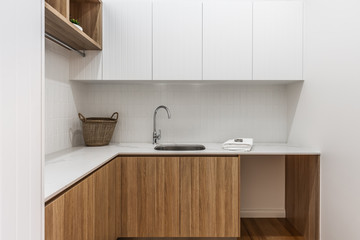 Laundry bench top and cupboards