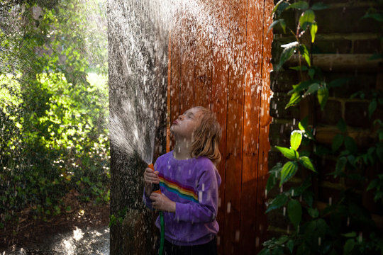 Fun with water on a sunny day.