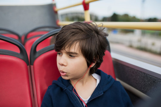 8 year old boy in a bus